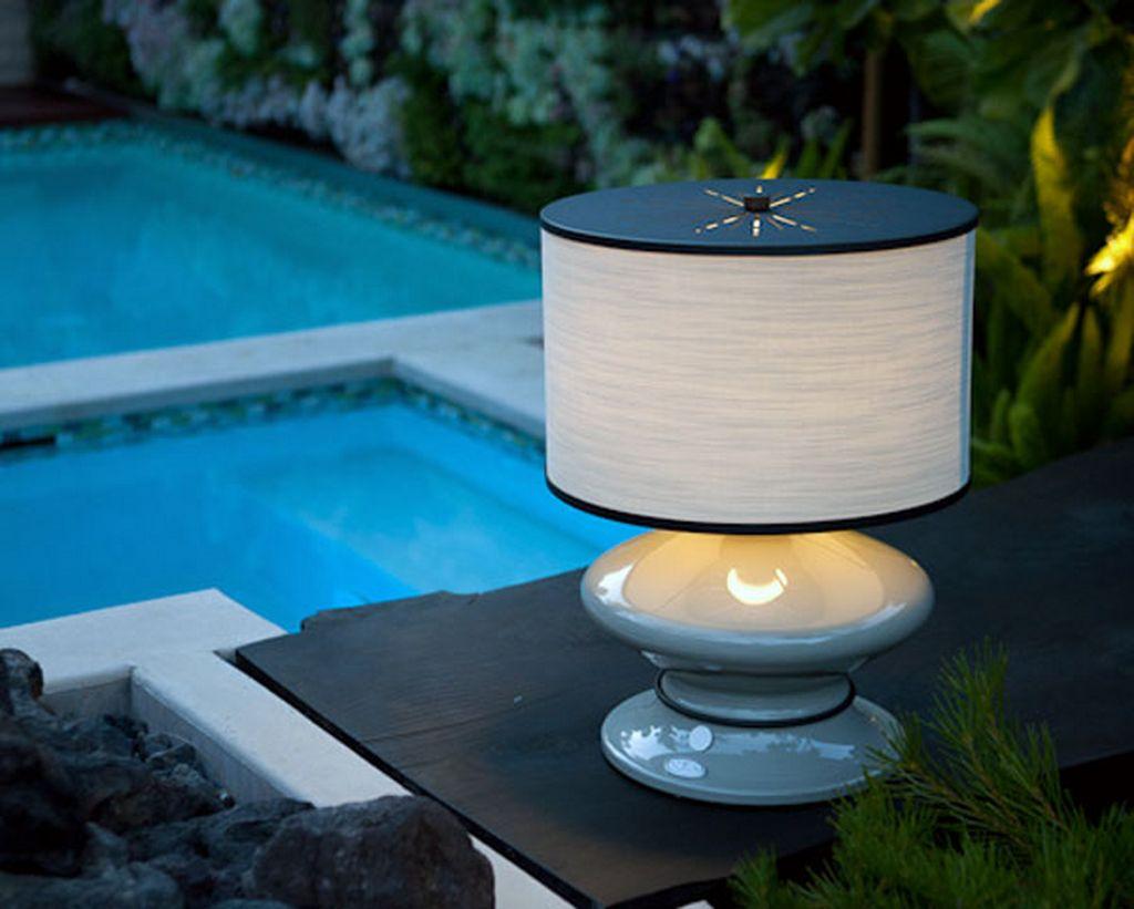 Lampe poser pour l 39 ext rieur lumi re banche fixe effet for Luminaire exterieur couleur